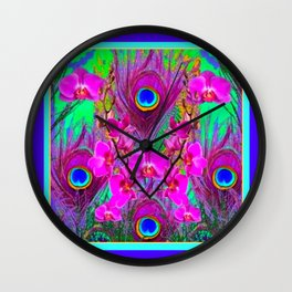 Purple Blue Green Peacock Feathers Lavender Orchid Patterns Art Wall Clock