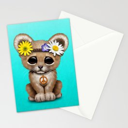 Cute Baby Lion Cub Hippie Stationery Cards