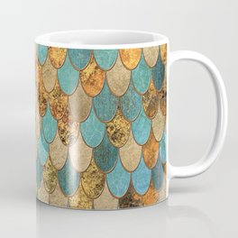 Oceanic Blue Gold Mermaid Scales HJYLY Coffee Mug