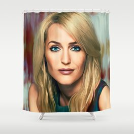 Gillian Anderson painting Shower Curtain