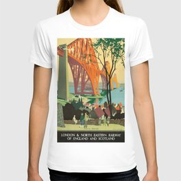 Scottish Railway Travel Poster, The Forth Bridge, East Coast Route T-shirt