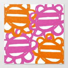 Fun Flowers Large pink orange Canvas Print