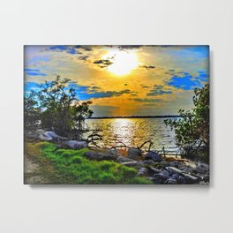 Painterly Setting Sun Metal Print