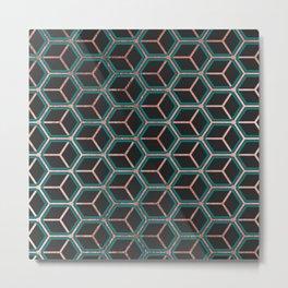 Abstract green black faux rose gold geometrical pattern Metal Print