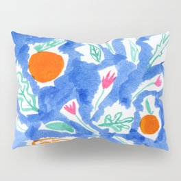 Oranges and Flowers in Blue Pillow Sham