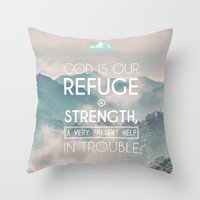 bible verses Throw Pillows featuring Typographic Motivational Bible Verses - Psalm 46:1 by The Wooden Tree