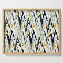 Zigzag Black, Yellow and White Serving Tray