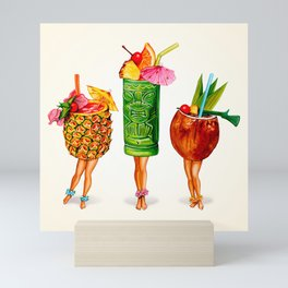 Tiki Cocktail Pin-Ups Mini Art Print