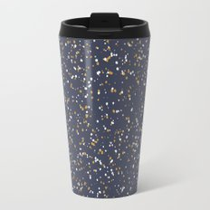 Speckles I: Dark Gold & Snow on Blue Vortex Travel Mug