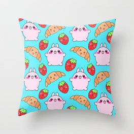 Cute happy funny pink baby bunnies, sweet adorable yummy Kawaii croissants and red ripe summer strawberries cartoon light pastel blue pattern design Throw Pillow