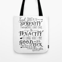 stephen king Tote Bags featuring God, Grant Me.. quote by Stephen King by Evie Seo