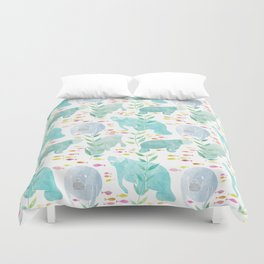 Lazy Manatees Duvet Cover