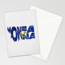 Montana Typographic Flag Map Art Stationery Cards