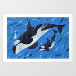 Killer Whale and Baby Art Print