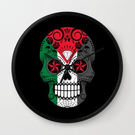 Sugar Skull with Roses and Flag of Palestine Wall Clock