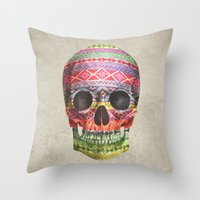 navajo Throw Pillows featuring Navajo Skull  by Terry Fan