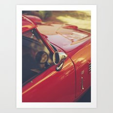 Fine art print, red supercar details, high quality photo, deep of field, macro, triumph spitfire Art Print
