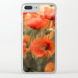 Poppies Watercolor Smudge Clear iPhone Case