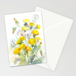 Watercolor yellow flowers dandelions Stationery Cards