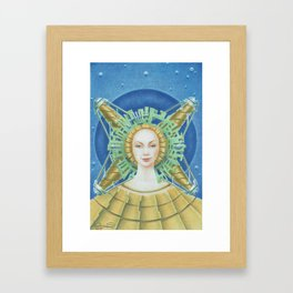 """Portrait with green headpiece"" Framed Art Print"