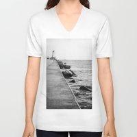 michigan V-neck T-shirts featuring Michigan Lighthouse by KimberosePhotography