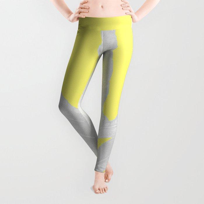 Green Fern on Lemon Yellow Inverted Leggings