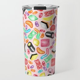 Rainbow Diet - a colorful assortment of hand-drawn candy on pale pink Travel Mug