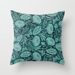 Arabella - Teal Throw Pillow