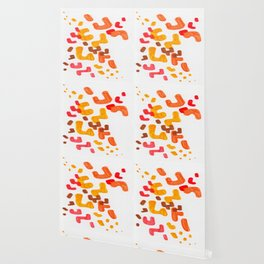 Minimalist Abstract Mid Century Modern Colorful Organic Patterns Red Orange Brown Wallpaper