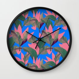 Retro Luxe Lilies Electric Blue Pattern Wall Clock