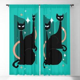 Fashionable Felines Atomic Age Black Kitschy Cats Blackout Curtain