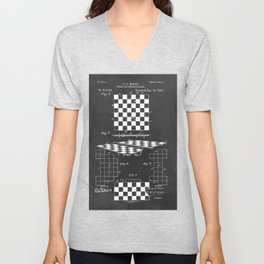 Chess Checkerboard Antique Patent Unisex V-Neck