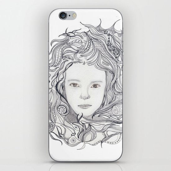 girl - curly doodle hair iPhone & iPod Skin