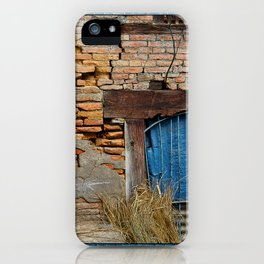 OLD BRICK WALL AND BLUE TARP WINDOW BHAKTAPUR NEPAL iPhone Case