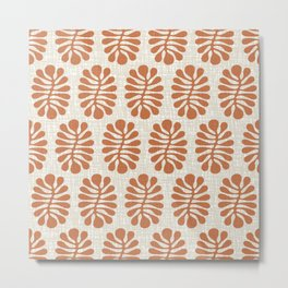 Mid Century Modern Abstract Organic Nature Pattern 328 Rust and Beig Metal Print