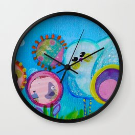 Birdy and the Dandies Mixed Media Painting Wall Clock