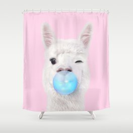BUBBLE GUM LLAMA Shower Curtain