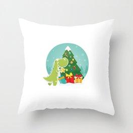 Dino Christmas Tree Dinosaur Animal Thanksgiving Santa Reindeers Xmas Presents Gift Throw Pillow