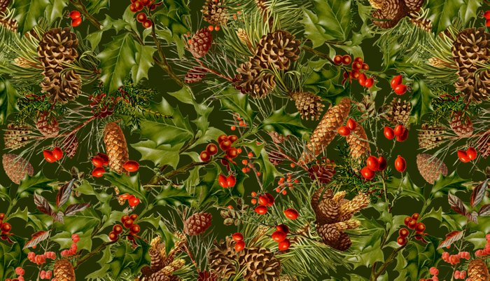Traditional Holly Christmas Pattern Pillow Sham