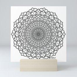 Gem Succulent Mandala C - Black Mini Art Print