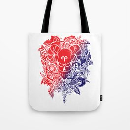 Aries Skull Zodiac Sign For March and April Birth Day Gift Tote Bag