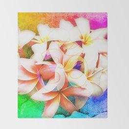 Yoga Om Frangipani Pagoda Flower Throw Blanket