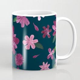 Burgundy Blush Floral Pattern Coffee Mug