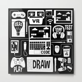 It's a Game Dev World Metal Print