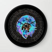 calendar Wall Clocks featuring MAYA CALENDAR by Dario Calabria