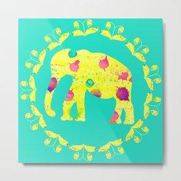 Watercolor yellow elephant Metal Print