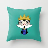 evil queen Throw Pillows featuring evil queen by guizmo04