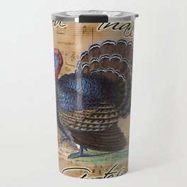 Thanksgiving Turkey on Vintage Music Sheet Travel Mug