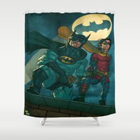 justice league Shower Curtains featuring bat man the watch men justice league man of steel by Brian Hollins art