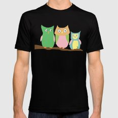 Owl Family Portrait Black Mens Fitted Tee MEDIUM